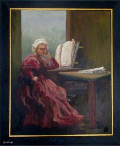 portretten - Lezende-vrouw-voor-venster-naar-Rembrandt